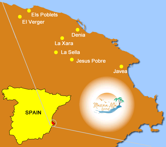 Map of Denia and surrounding towns